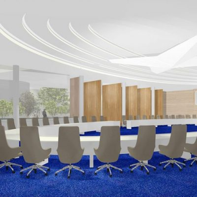 Conference Room In collaboration with Rijksvastgoedbedrijf renovation and expansion NATO complex. Interior design concept entrance area, restaurant area / coffee corner, conference room, office area.